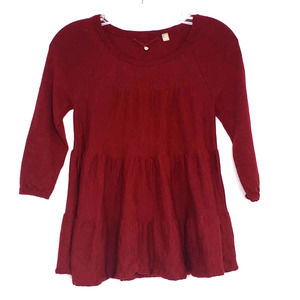 Knitted & Knotted Red Empire 3/4 Sleeve Top